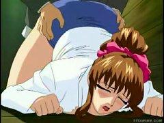 Anime Brunette Sucks A Nasty Old Dick