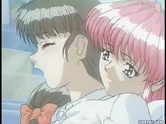 Lesbian Hentai Babe Kneading Her Sisters Big Boobs